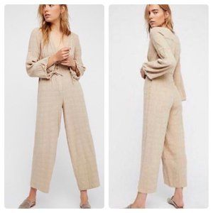 Free People True Lovin Linen Jumpsuit in Sand